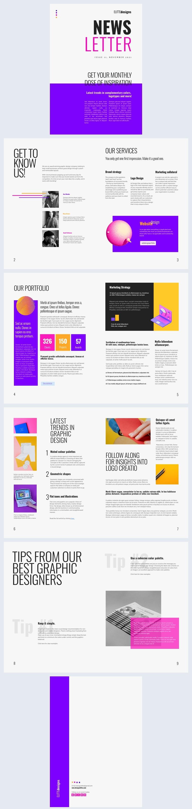 Amostra de Newsletter de Design Gráfico Interativa