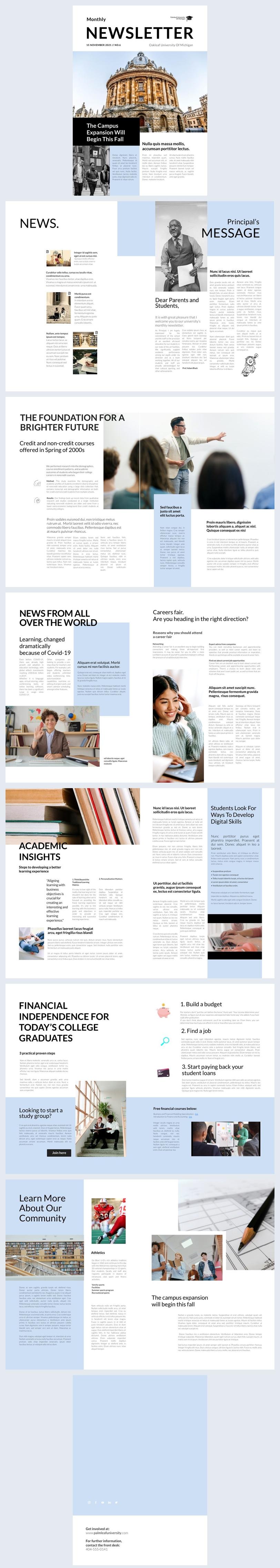 Exemplo de Design Personalizável de Newsletter Interativa de Universidade