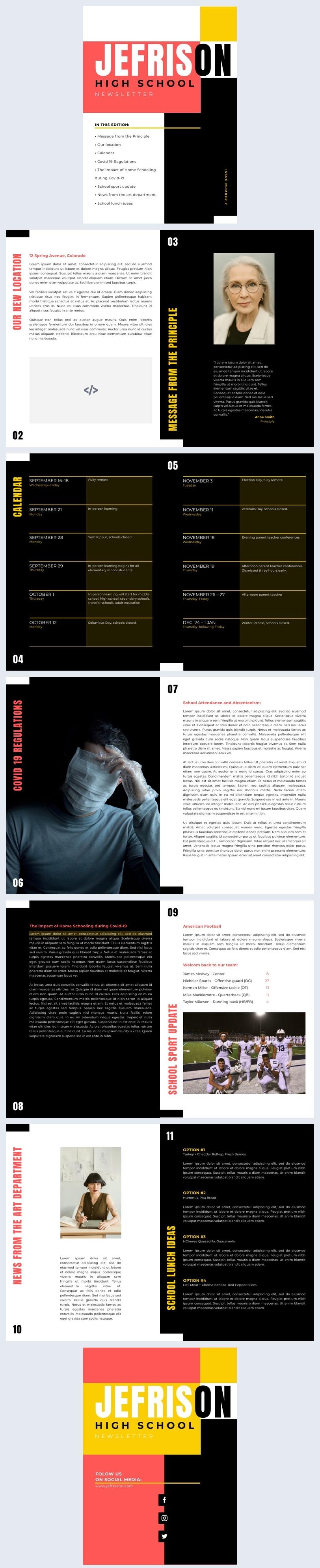 Exemplo de Design de Newsletter de Ensino Médio Interativa