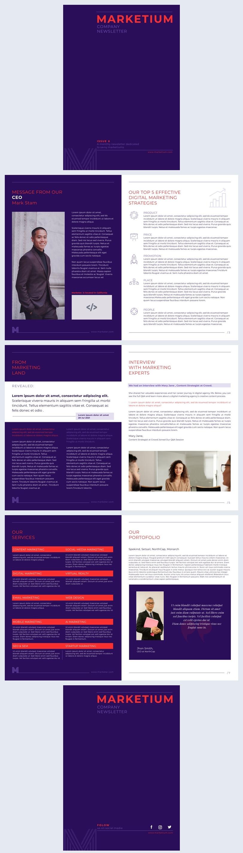 Exemplo de Design de Newsletter de Marketing Interativo