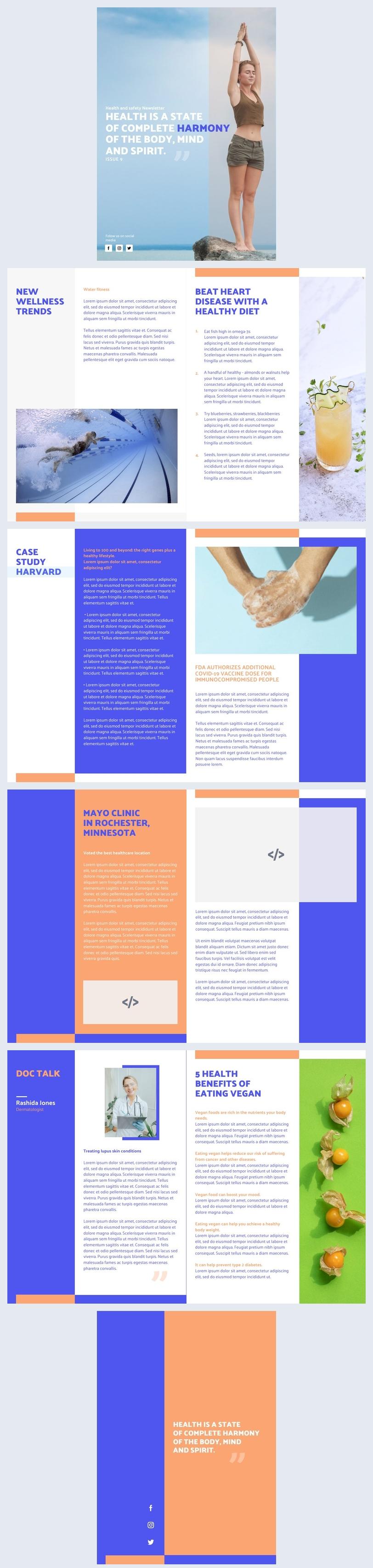 Exemplo de Design de Newsletter Interativa de Saúde
