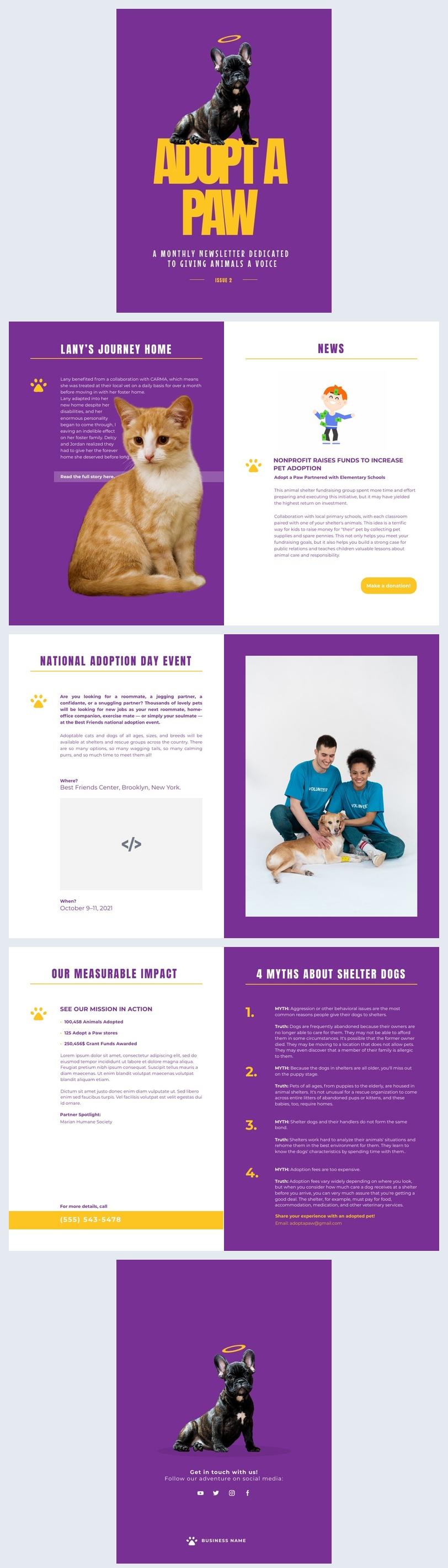 Exemplo de Design de Newsletter Interativa Sem Fins Lucrativos Sobre Cuidados com Animais