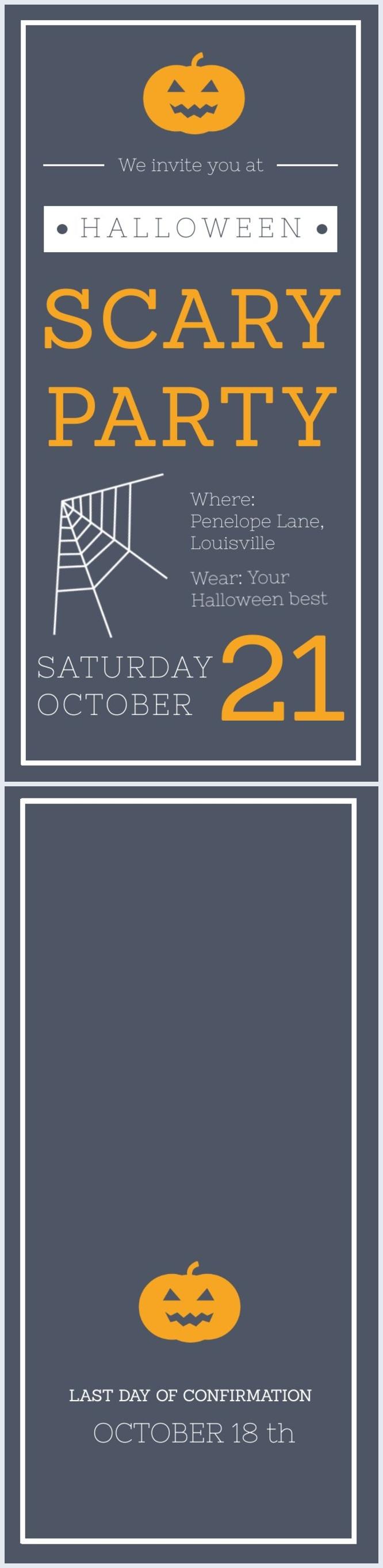 Diseño para invitación a una aterradora fiesta de Halloween