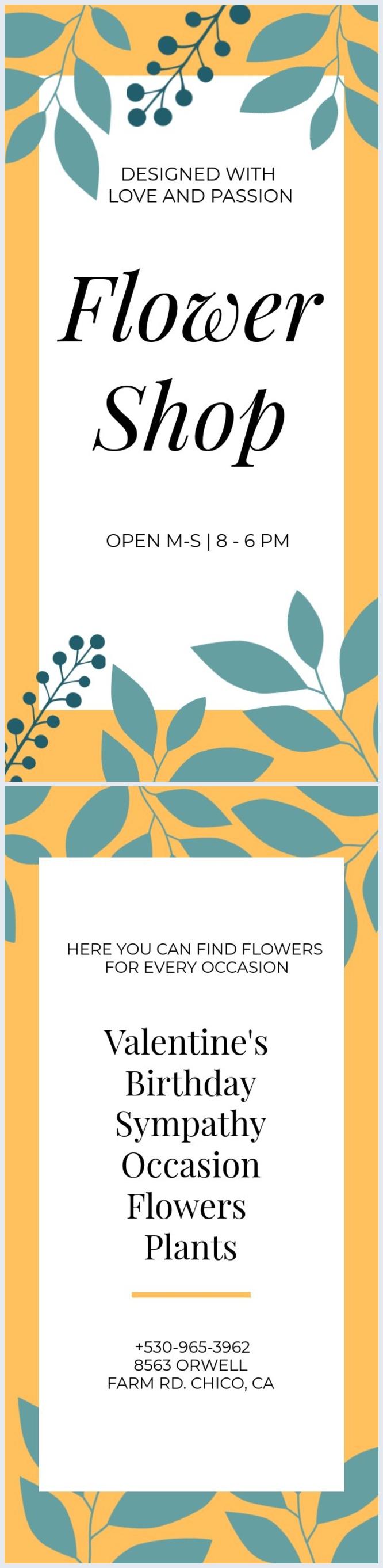 Flyer-Design für ein Blumengeschäft