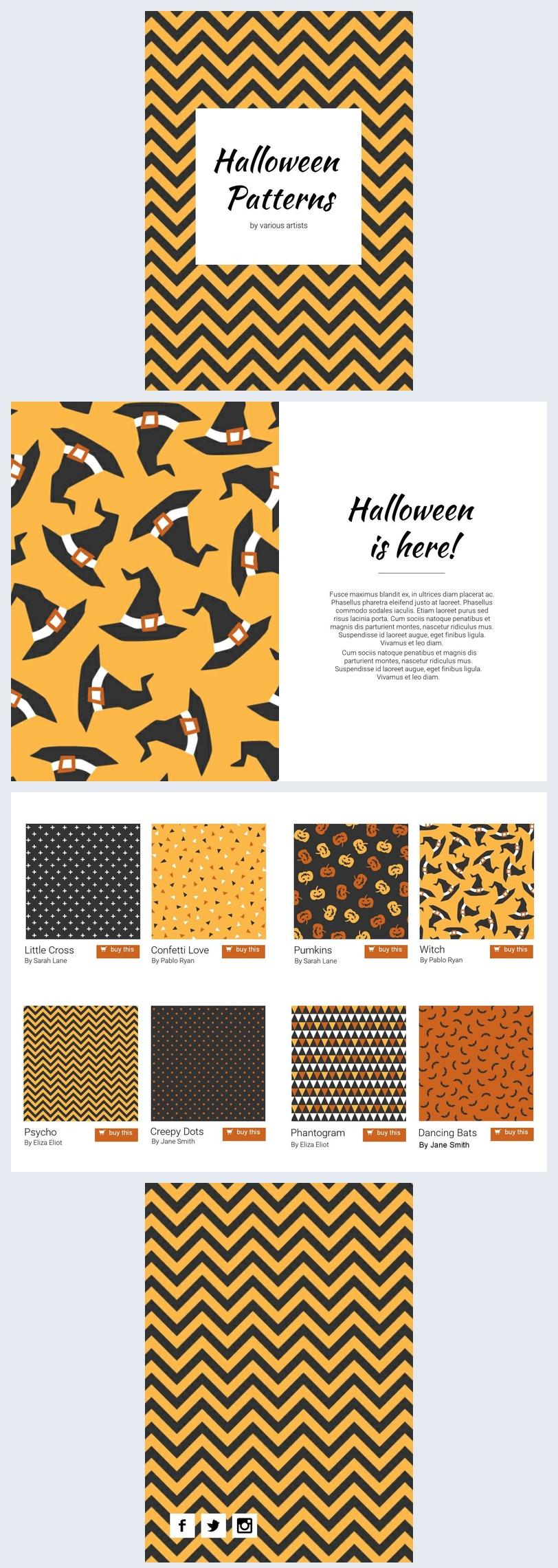 Halloween Patterns Magazine Design