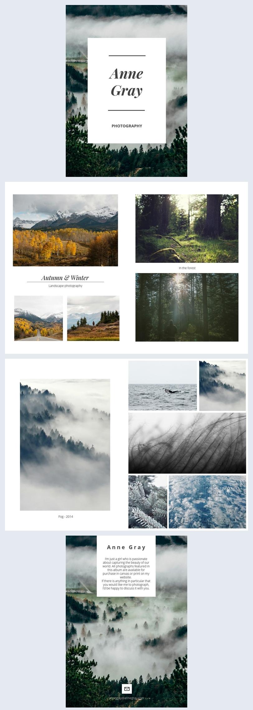 Natuurfotograaf portfolio ontwerp