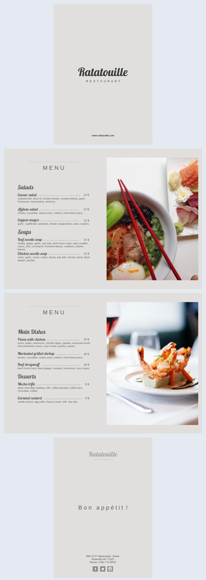 Menu de Restaurante Clássico