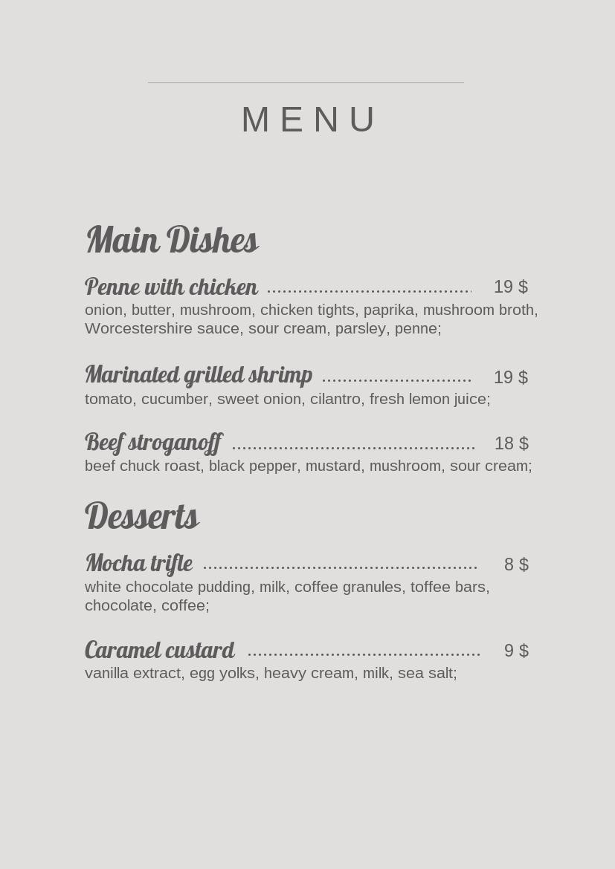 classic restaurant menu template  u0026 design