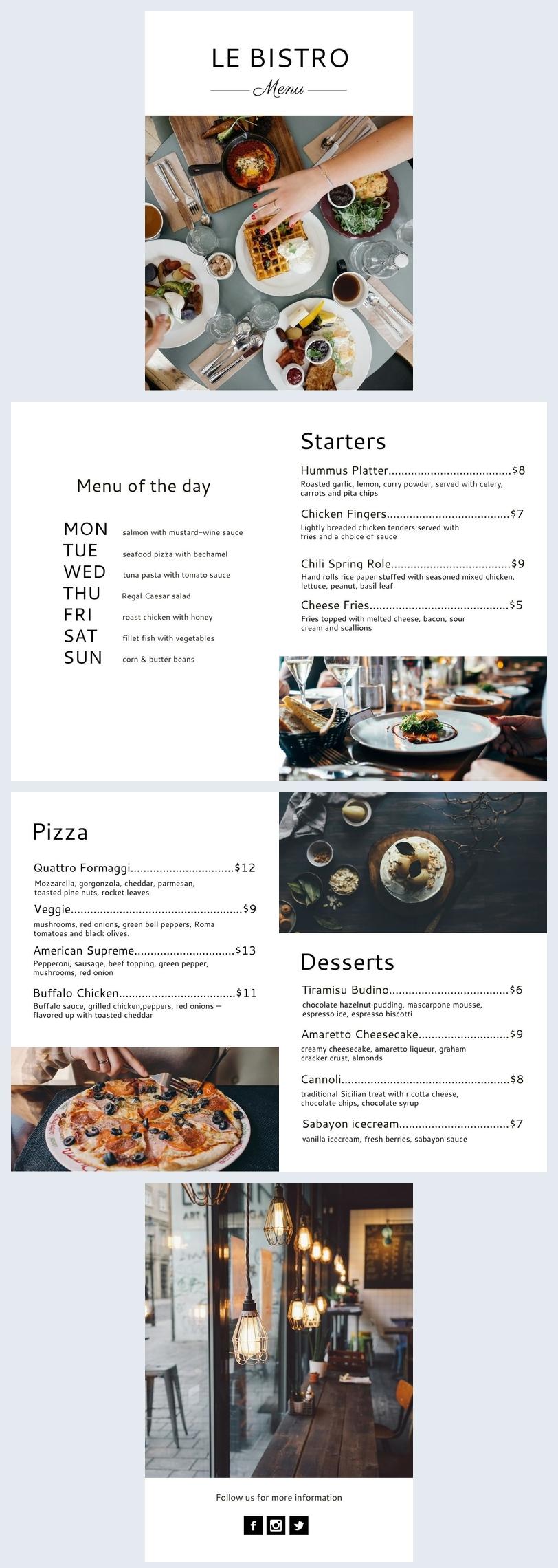 Diseño para menú de bistró y pub