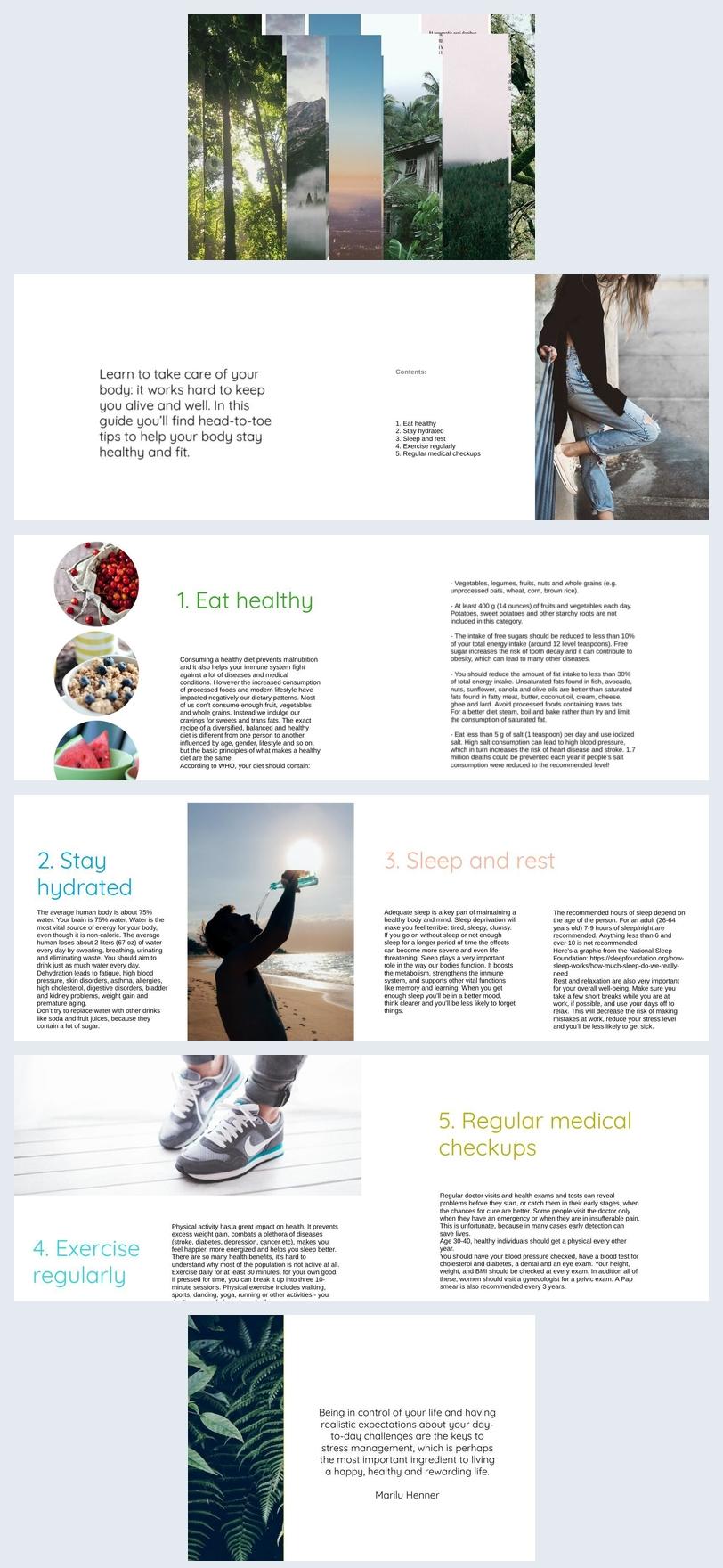Brochure pour un mode de vie sain