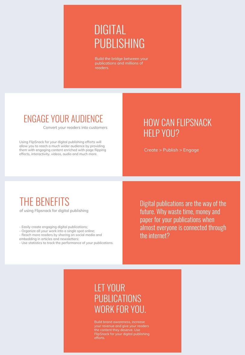 Design bianco e arancione per presentazione