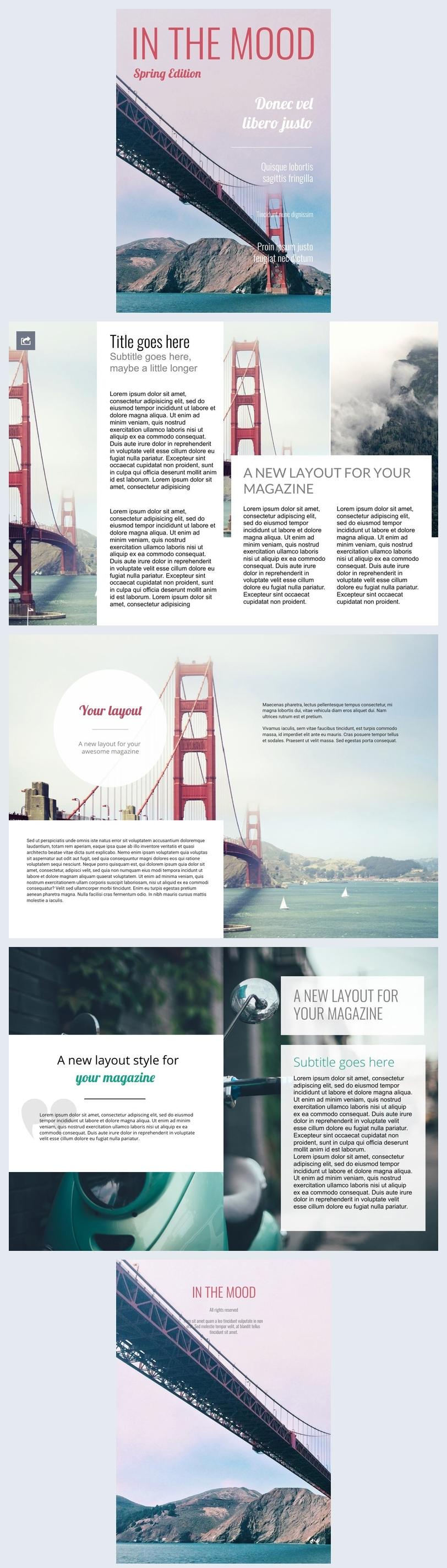 Design de magazines de voyage et de photographie